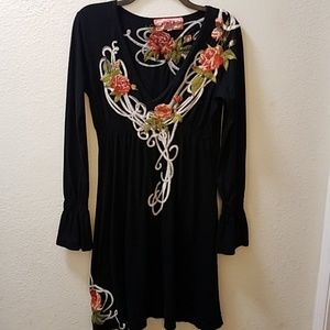 Johnny Was LA Embroidered Dress M